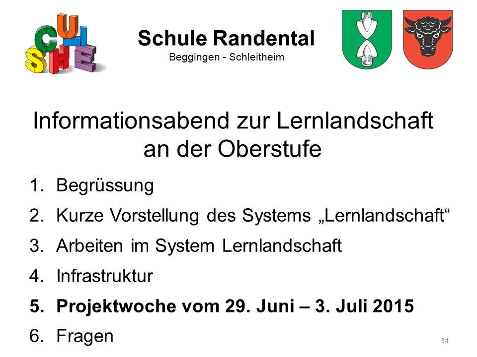 """34 Schule Randental Beggingen - Schleitheim Informationsabend zur Lernlandschaft an der Oberstufe 1.Begrüssung 2.Kurze Vorstellung des Systems """"Lernla"""