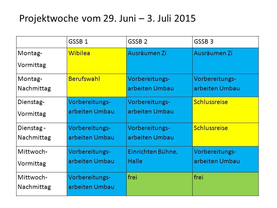 GSSB 1GSSB 2GSSB 3 Montag- Vormittag WibileaAusräumen Zi Montag- Nachmittag Berufswahl Vorbereitungs- arbeiten Umbau Dienstag- Vormittag Vorbereitungs