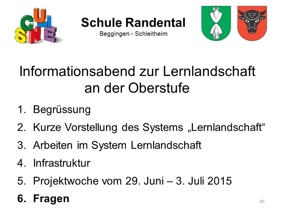 """40 Schule Randental Beggingen - Schleitheim Informationsabend zur Lernlandschaft an der Oberstufe 1.Begrüssung 2.Kurze Vorstellung des Systems """"Lernla"""