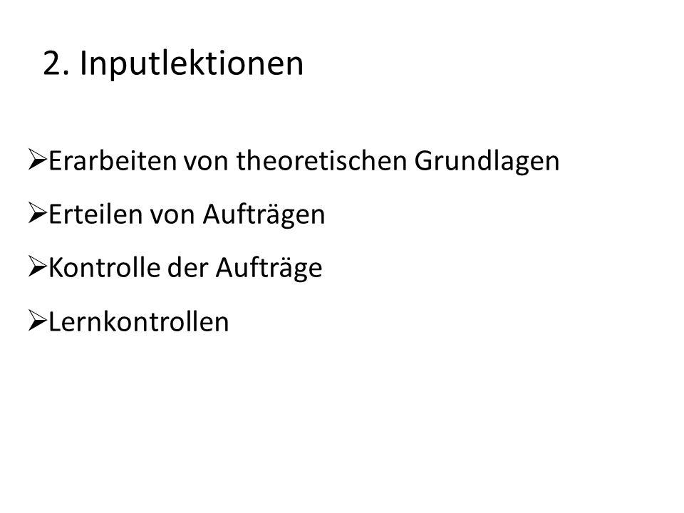 2. Inputlektionen  Erarbeiten von theoretischen Grundlagen  Erteilen von Aufträgen  Kontrolle der Aufträge  Lernkontrollen