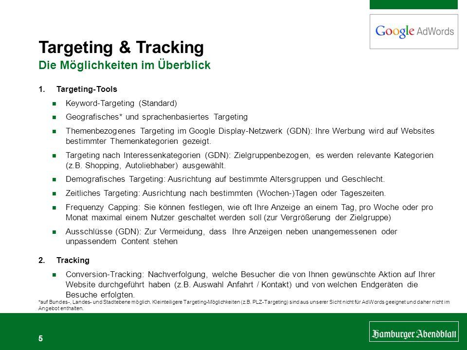 5 Targeting & Tracking Die Möglichkeiten im Überblick 1.Targeting-Tools Keyword-Targeting (Standard) Geografisches* und sprachenbasiertes Targeting Th