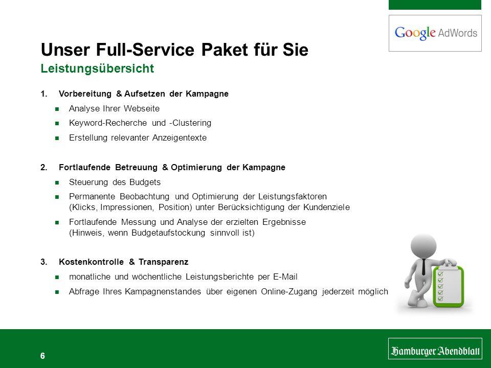 6 Unser Full-Service Paket für Sie Leistungsübersicht 1.Vorbereitung & Aufsetzen der Kampagne Analyse Ihrer Webseite Keyword-Recherche und -Clustering