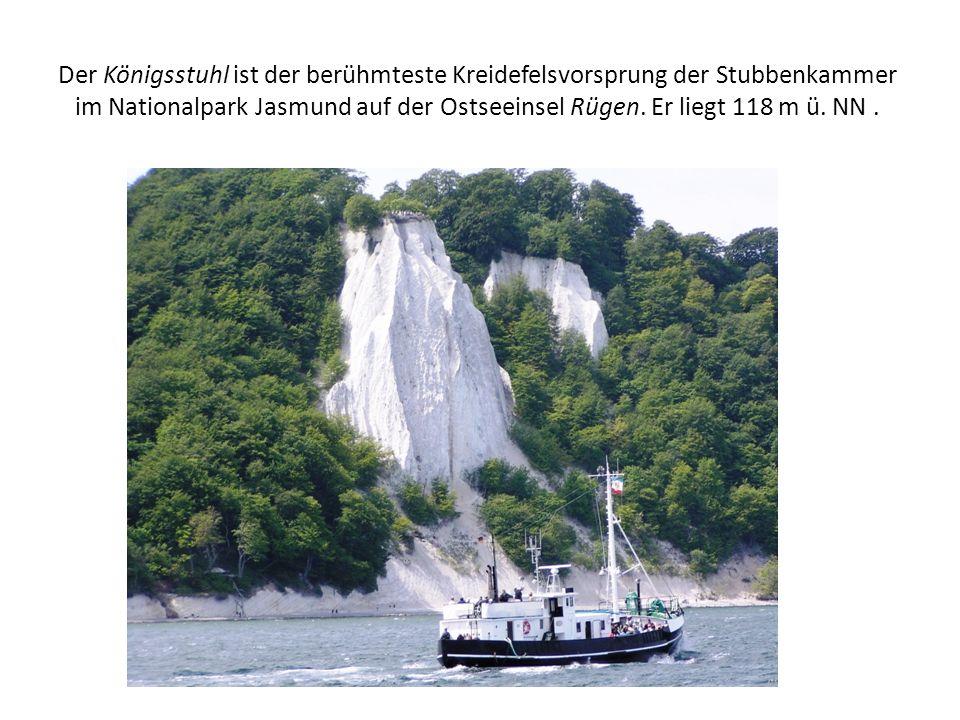 Der Königsstuhl ist der berühmteste Kreidefelsvorsprung der Stubbenkammer im Nationalpark Jasmund auf der Ostseeinsel Rügen.