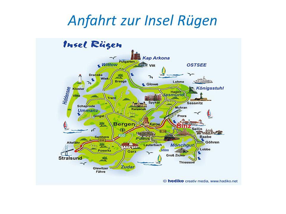 Wie komme ich zur Insel Rügen Zur Anreise: Aus Richtung Südosten über die A19 in Richtung Rostock, dann die A20 bis zur Abfahrt Stralsund, aus Südwesten bis Hamburg, über die A1 Lübeck in Richtung der A20 Rostock, weiter bis zur Abfahrt Stralsund.