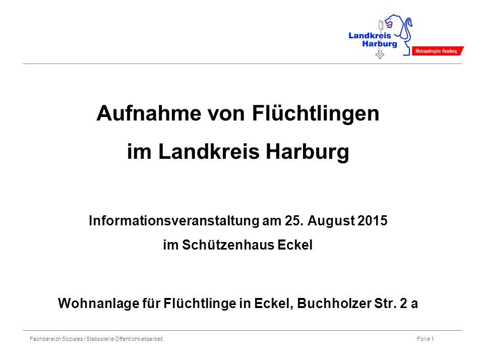 Fachbereich Soziales / Stabsstelle Öffentlichkeitsarbeit Folie 1 Aufnahme von Flüchtlingen im Landkreis Harburg Informationsveranstaltung am 25.