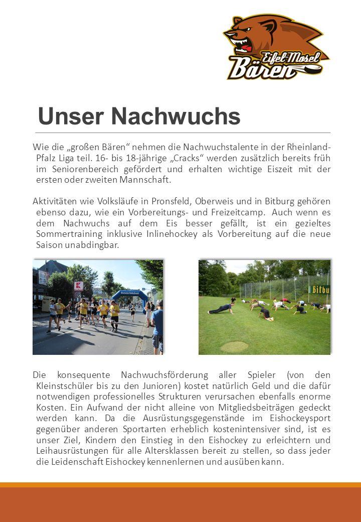 """Unser Nachwuchs Wie die """"großen Bären nehmen die Nachwuchstalente in der Rheinland- Pfalz Liga teil."""