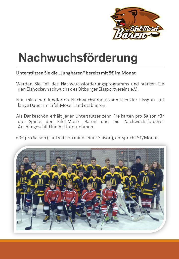 """Nachwuchsförderung Unterstützen Sie die """"Jungbären bereits mit 5€ im Monat Werden Sie Teil des Nachwuchsförderungsprogramms und stärken Sie den Eishockeynachwuchs des Bitburger Eissportvereins e.V.."""