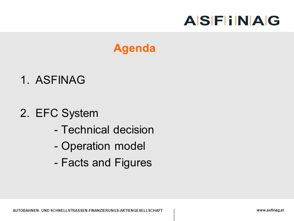AUTOBAHNEN- UND SCHNELLSTRASSEN-FINANZIERUNGS-AKTIENGESELLSCHAFT www.asfinag.at Agenda 1.ASFINAG 2.EFC System - Technical decision - Operation model -