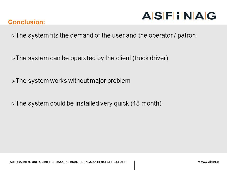 AUTOBAHNEN- UND SCHNELLSTRASSEN-FINANZIERUNGS-AKTIENGESELLSCHAFT www.asfinag.at Conclusion:  The system fits the demand of the user and the operator
