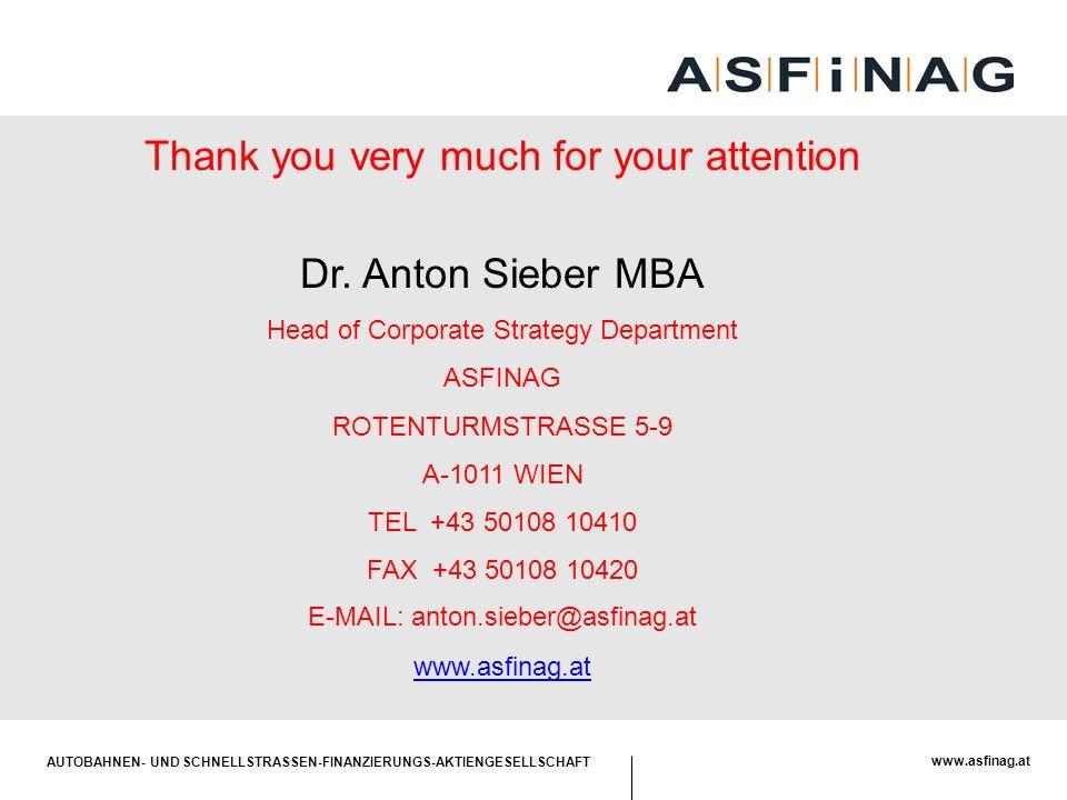 AUTOBAHNEN- UND SCHNELLSTRASSEN-FINANZIERUNGS-AKTIENGESELLSCHAFT www.asfinag.at Thank you very much for your attention Dr. Anton Sieber MBA Head of Co