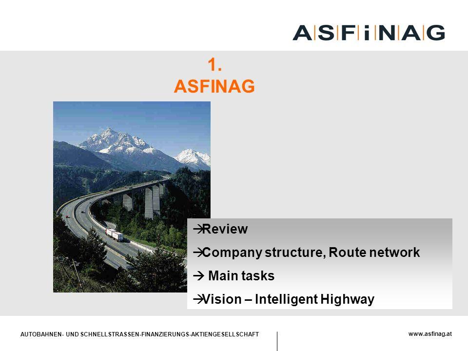 AUTOBAHNEN- UND SCHNELLSTRASSEN-FINANZIERUNGS-AKTIENGESELLSCHAFT www.asfinag.at  Review  Company structure, Route network  Main tasks  Vision – In
