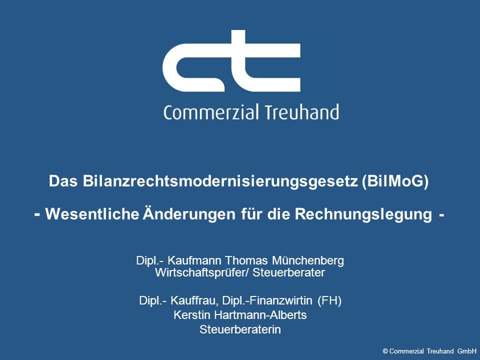 © Commerzial Treuhand GmbH Das Bilanzrechtsmodernisierungsgesetz (BilMoG) - Wesentliche Änderungen für die Rechnungslegung - Dipl.- Kauffrau, Dipl.-Fi