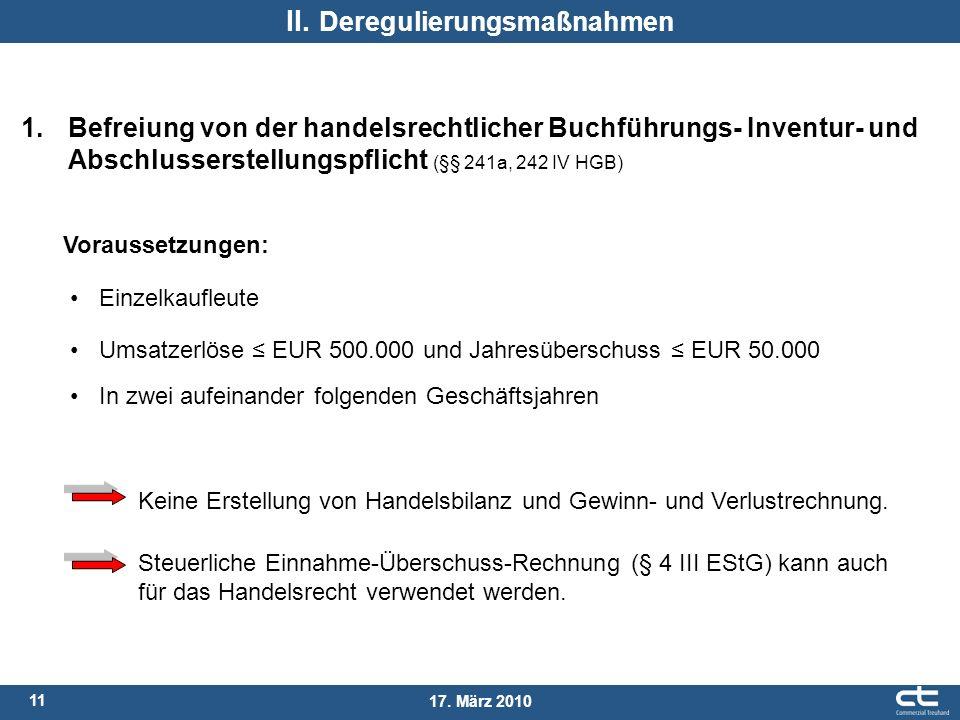 11 17. März 2010 II. Deregulierungsmaßnahmen 1. Befreiung von der handelsrechtlicher Buchführungs- Inventur- und Abschlusserstellungspflicht (§§ 241a,