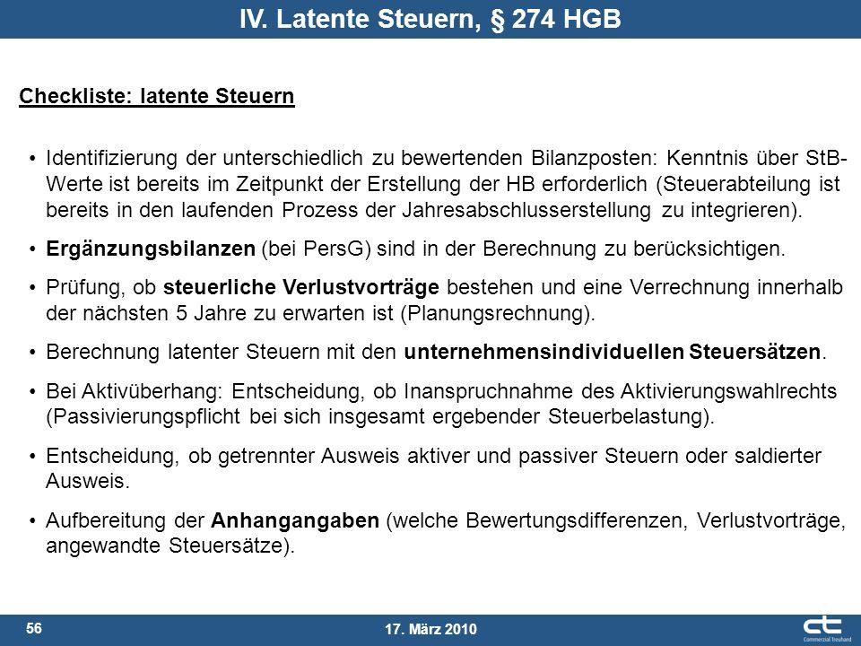 56 17. März 2010 Checkliste: latente Steuern Identifizierung der unterschiedlich zu bewertenden Bilanzposten: Kenntnis über StB- Werte ist bereits im