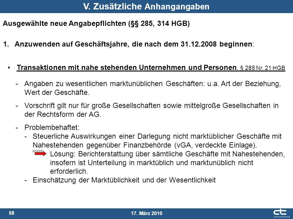 58 17. März 2010 V. Zusätzliche Anhangangaben Ausgewählte neue Angabepflichten (§§ 285, 314 HGB) 1. Anzuwenden auf Geschäftsjahre, die nach dem 31.12.