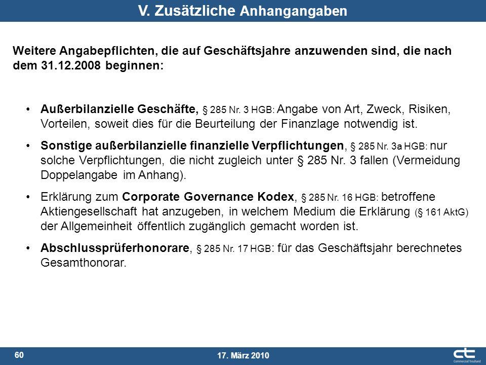 60 17. März 2010 Außerbilanzielle Geschäfte, § 285 Nr. 3 HGB: Angabe von Art, Zweck, Risiken, Vorteilen, soweit dies für die Beurteilung der Finanzlag