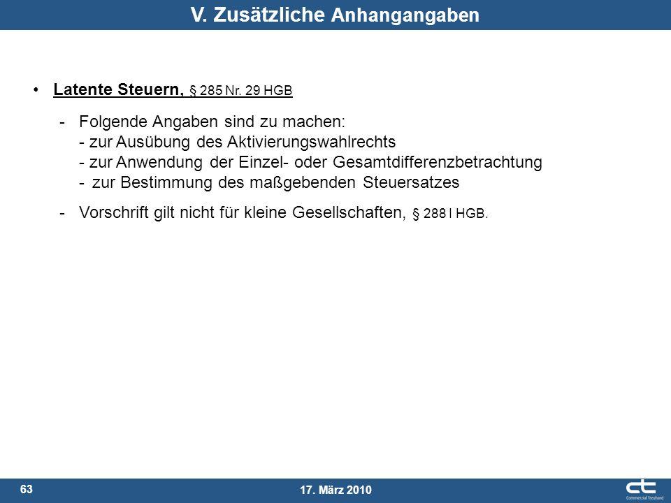 63 17. März 2010 Latente Steuern, § 285 Nr. 29 HGB - Folgende Angaben sind zu machen: - zur Ausübung des Aktivierungswahlrechts - zur Anwendung der Ei