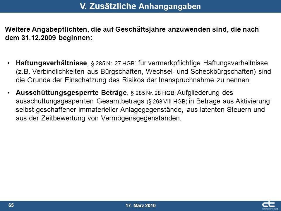 65 17. März 2010 Haftungsverhältnisse, § 285 Nr. 27 HGB : für vermerkpflichtige Haftungsverhältnisse (z.B. Verbindlichkeiten aus Bürgschaften, Wechsel
