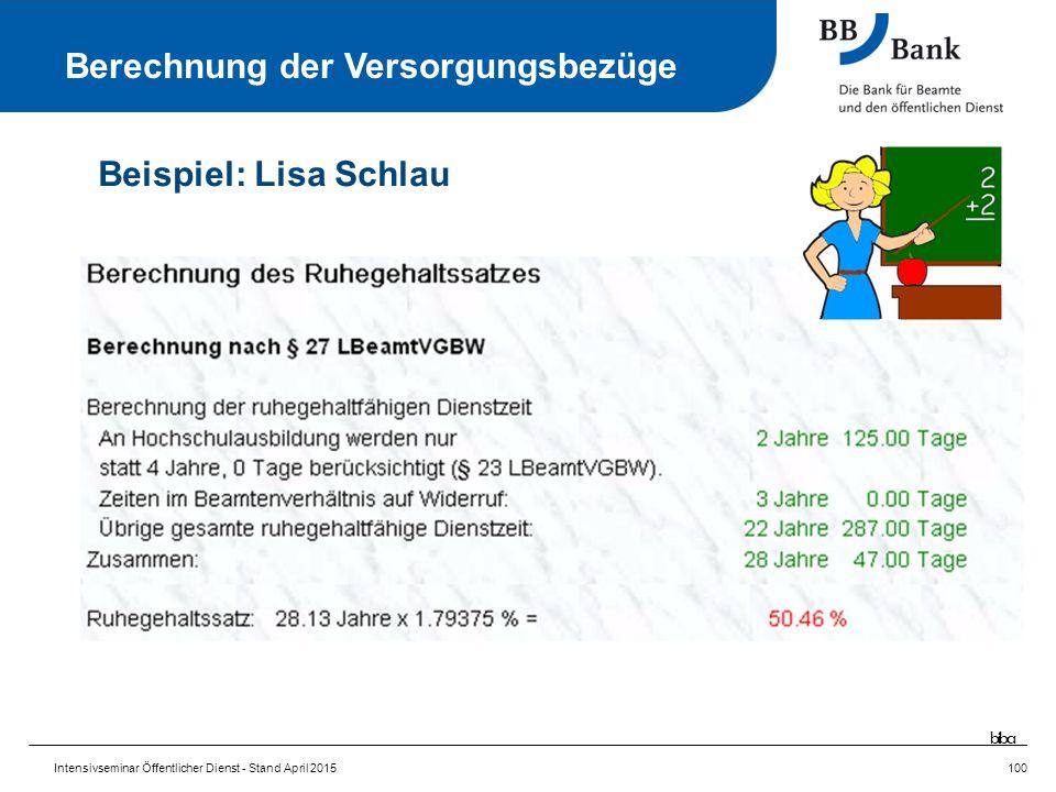 Intensivseminar Öffentlicher Dienst - Stand April 2015100 Berechnung der Versorgungsbezüge Beispiel: Lisa Schlau biba