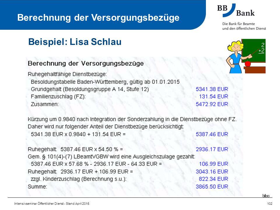 Intensivseminar Öffentlicher Dienst - Stand April 2015102 Berechnung der Versorgungsbezüge Beispiel: Lisa Schlau biba