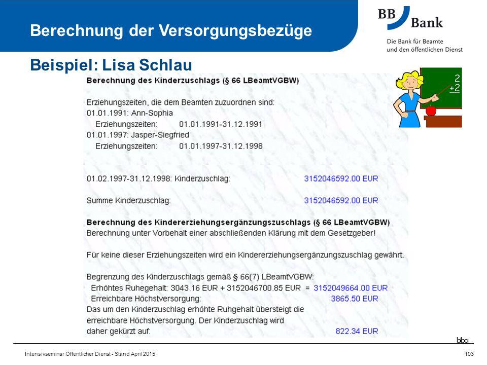 Intensivseminar Öffentlicher Dienst - Stand April 2015103 Berechnung der Versorgungsbezüge Beispiel: Lisa Schlau biba