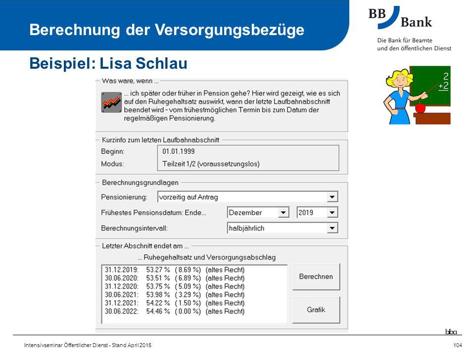 Intensivseminar Öffentlicher Dienst - Stand April 2015104 Berechnung der Versorgungsbezüge Beispiel: Lisa Schlau biba