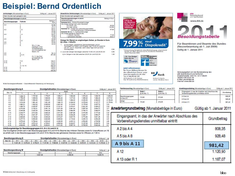 43 A 9 bis A 11 981,42 Beispiel: Bernd Ordentlich biba Intensivseminar Öffentlicher Dienst - Stand April 2015