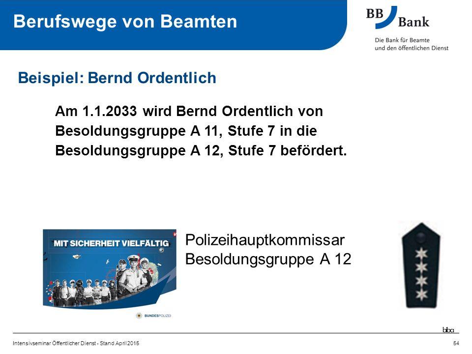 Am 1.1.2033 wird Bernd Ordentlich von Besoldungsgruppe A 11, Stufe 7 in die Besoldungsgruppe A 12, Stufe 7 befördert.