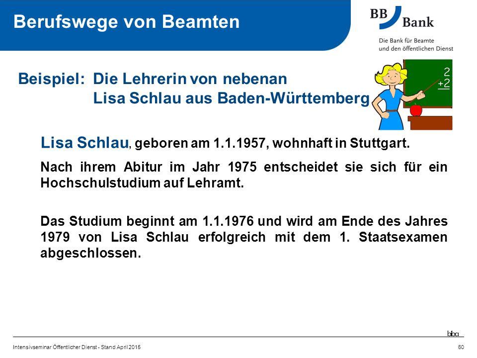 Lisa Schlau, geboren am 1.1.1957, wohnhaft in Stuttgart.