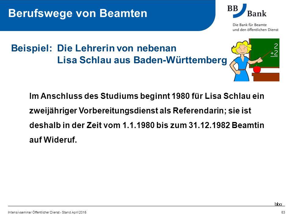 Im Anschluss des Studiums beginnt 1980 für Lisa Schlau ein zweijähriger Vorbereitungsdienst als Referendarin; sie ist deshalb in der Zeit vom 1.1.1980 bis zum 31.12.1982 Beamtin auf Wideruf.
