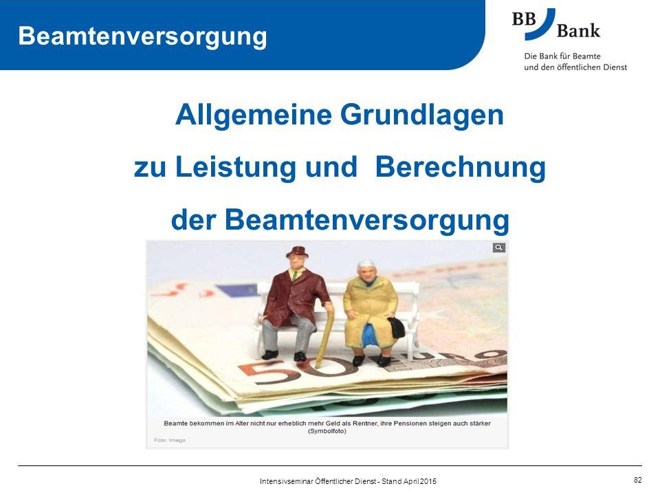 Allgemeine Grundlagen zu Leistung und Berechnung der Beamtenversorgung 82 Intensivseminar Öffentlicher Dienst - Stand April 2015 Beamtenversorgung