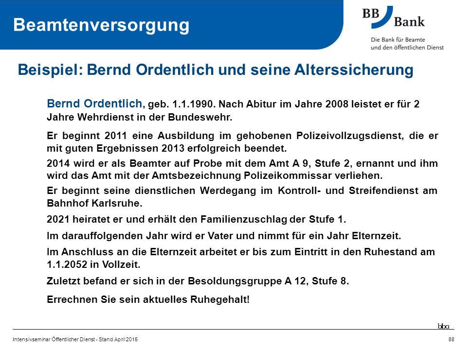 Intensivseminar Öffentlicher Dienst - Stand April 201588 Beispiel: Bernd Ordentlich und seine Alterssicherung Bernd Ordentlich, geb.