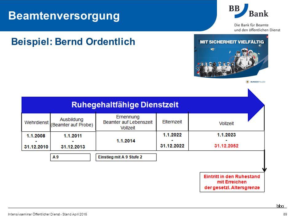 Intensivseminar Öffentlicher Dienst - Stand April 201589 Beispiel: Bernd Ordentlich Beamtenversorgung biba