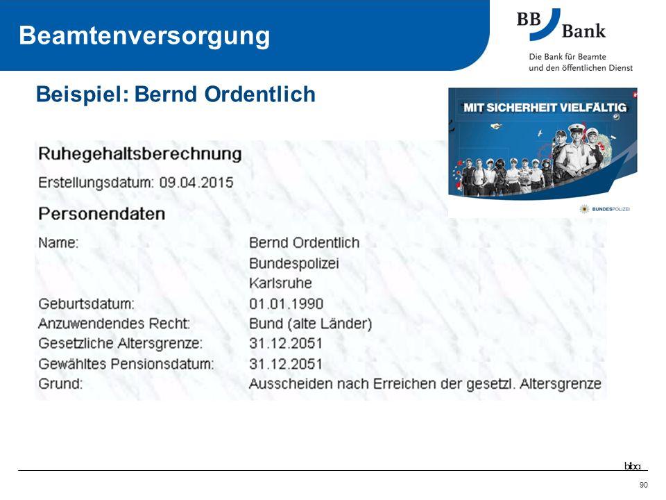 90 Intensivseminar Öffentlicher Dienst - Stand April 2015 Beispiel: Bernd Ordentlich Beamtenversorgung biba