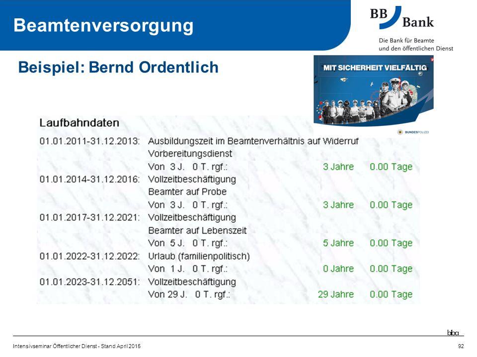 92 Beispiel: Bernd Ordentlich Beamtenversorgung biba