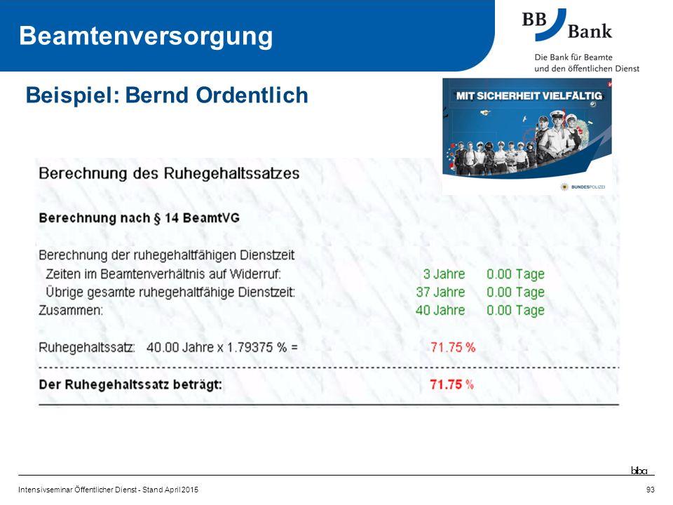 Intensivseminar Öffentlicher Dienst - Stand April 201593 Beispiel: Bernd Ordentlich Beamtenversorgung biba