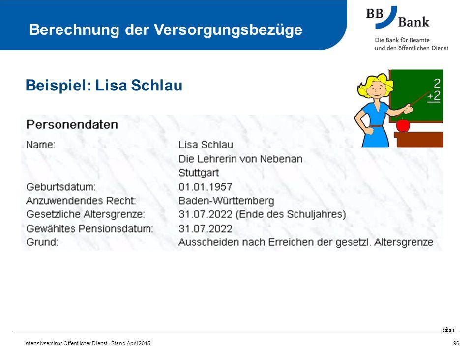 Intensivseminar Öffentlicher Dienst - Stand April 201596 Berechnung der Versorgungsbezüge Beispiel: Lisa Schlau biba
