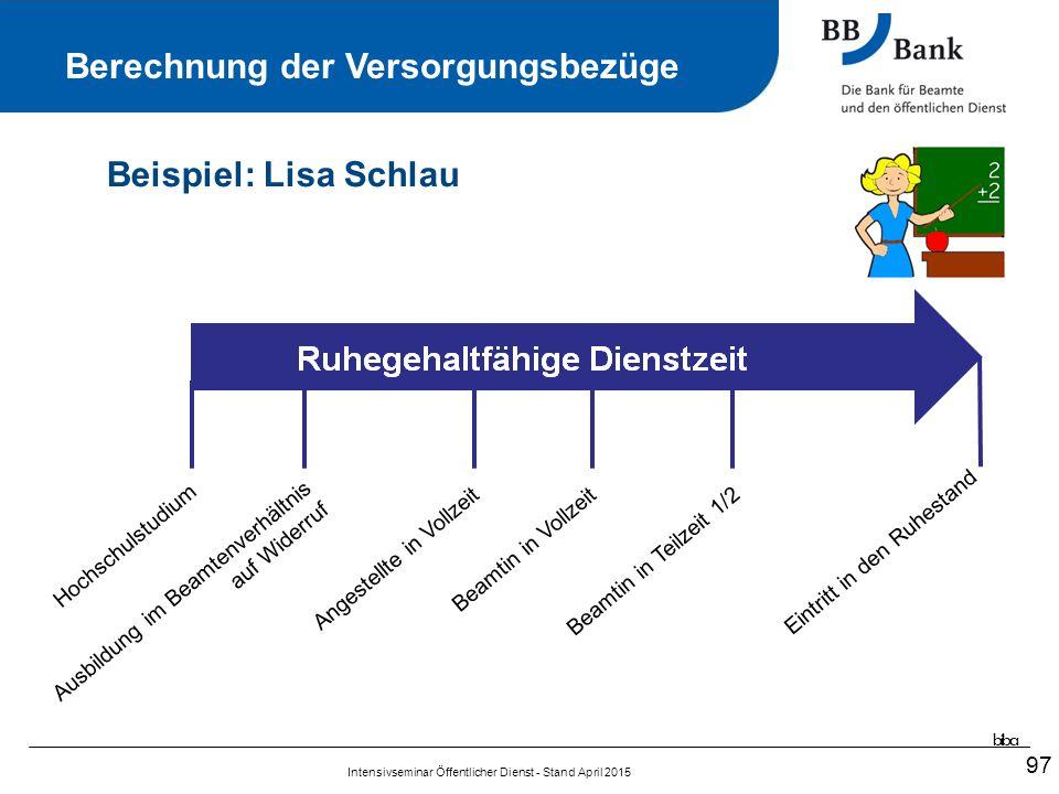 97 Ruhegehaltfähige Dienstzeit Beispiel: Lisa Schlau Berechnung der Versorgungsbezüge biba Intensivseminar Öffentlicher Dienst - Stand April 2015