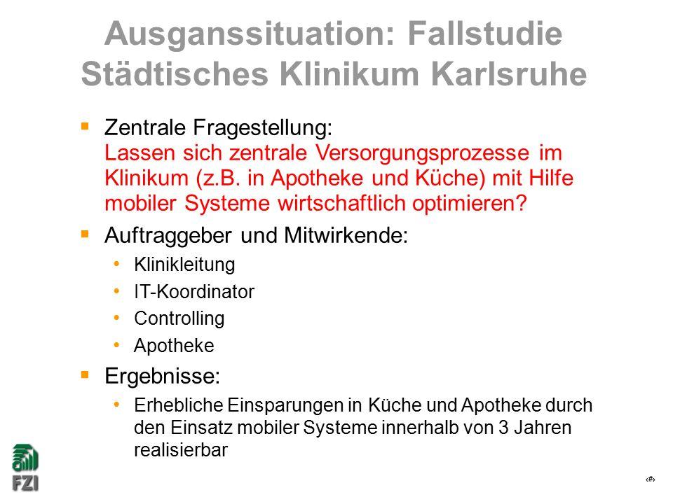 6 Ausganssituation: Fallstudie Städtisches Klinikum Karlsruhe  Zentrale Fragestellung: Lassen sich zentrale Versorgungsprozesse im Klinikum (z.B. in
