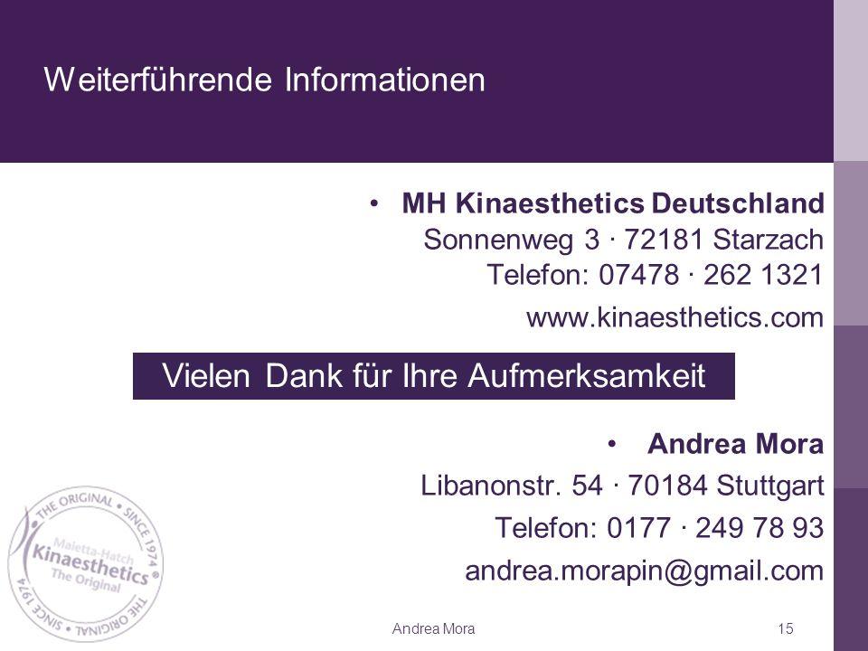 Weiterführende Informationen MH Kinaesthetics Deutschland Sonnenweg 3 ∙ 72181 Starzach Telefon: 07478 ∙ 262 1321 www.kinaesthetics.com Andrea Mora Libanonstr.