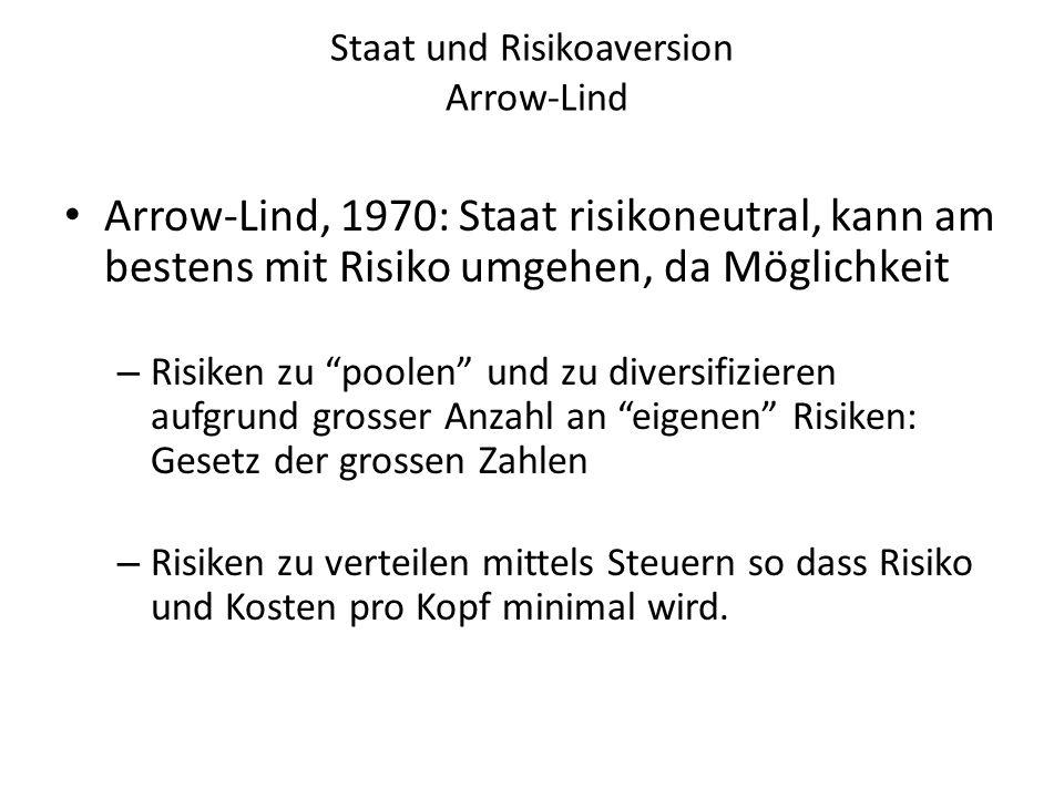 """Staat und Risikoaversion Arrow-Lind Arrow-Lind, 1970: Staat risikoneutral, kann am bestens mit Risiko umgehen, da Möglichkeit – Risiken zu """"poolen"""" un"""