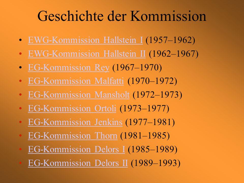 Geschichte der Kommission EWG-Kommission Hallstein I (1957–1962)EWG-Kommission Hallstein I EWG-Kommission Hallstein II (1962–1967)EWG-Kommission Hallstein II EG-Kommission Rey (1967–1970)EG-Kommission Rey EG-Kommission Malfatti (1970–1972)EG-Kommission Malfatti EG-Kommission Mansholt (1972–1973)EG-Kommission Mansholt EG-Kommission Ortoli (1973–1977)EG-Kommission Ortoli EG-Kommission Jenkins (1977–1981)EG-Kommission Jenkins EG-Kommission Thorn (1981–1985)EG-Kommission Thorn EG-Kommission Delors I (1985–1989)EG-Kommission Delors I EG-Kommission Delors II (1989–1993)EG-Kommission Delors II