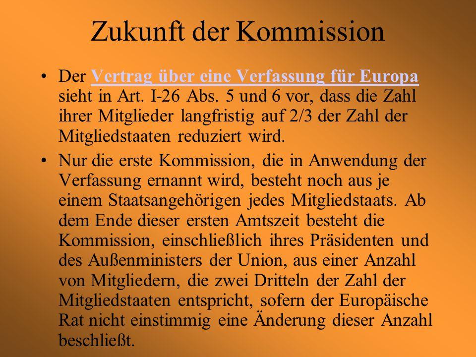 Zukunft der Kommission Der Vertrag über eine Verfassung für Europa sieht in Art.