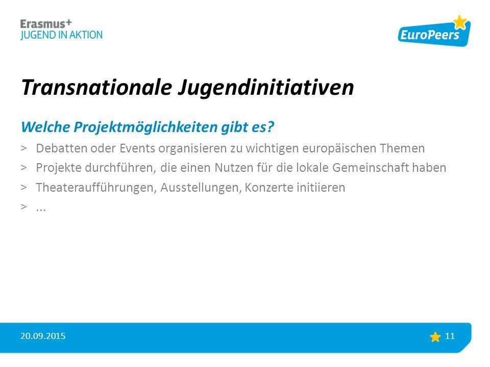 Transnationale Jugendinitiativen Welche Projektmöglichkeiten gibt es.