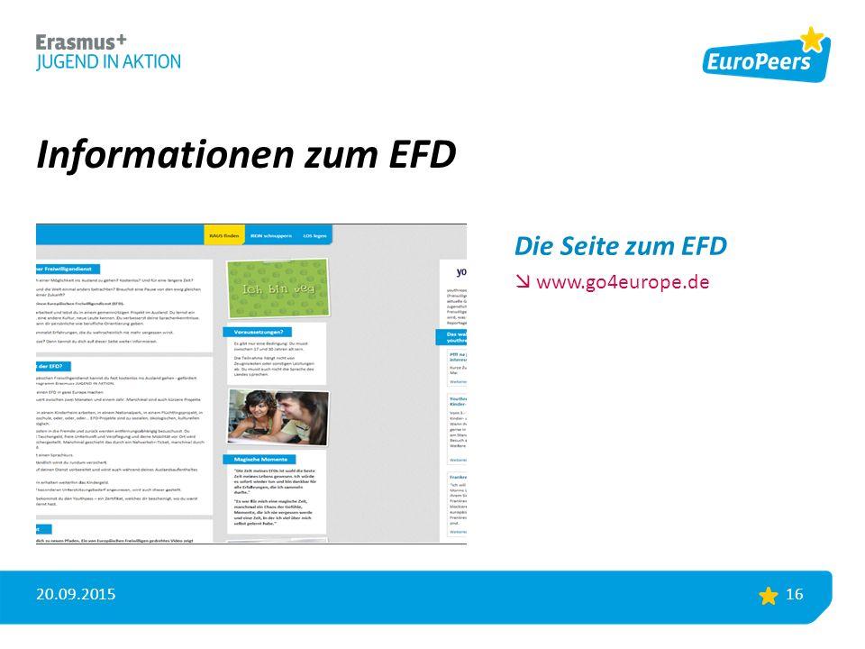 Informationen zum EFD 20.09.2015 16 Die Seite zum EFD  www.go4europe.de