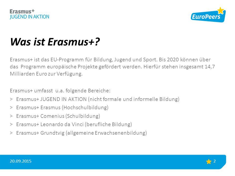 Was ist Erasmus+. Erasmus+ ist das EU-Programm für Bildung, Jugend und Sport.