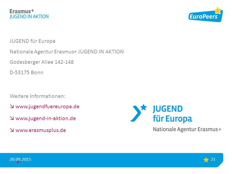JUGEND für Europa Nationale Agentur Erasmus+ JUGEND IN AKTION Godesberger Allee 142-148 D-53175 Bonn Weitere Informationen:  www.jugendfuereuropa.de  www.jugend-in-aktion.de  www.erasmusplus.de >  20.09.2015 21