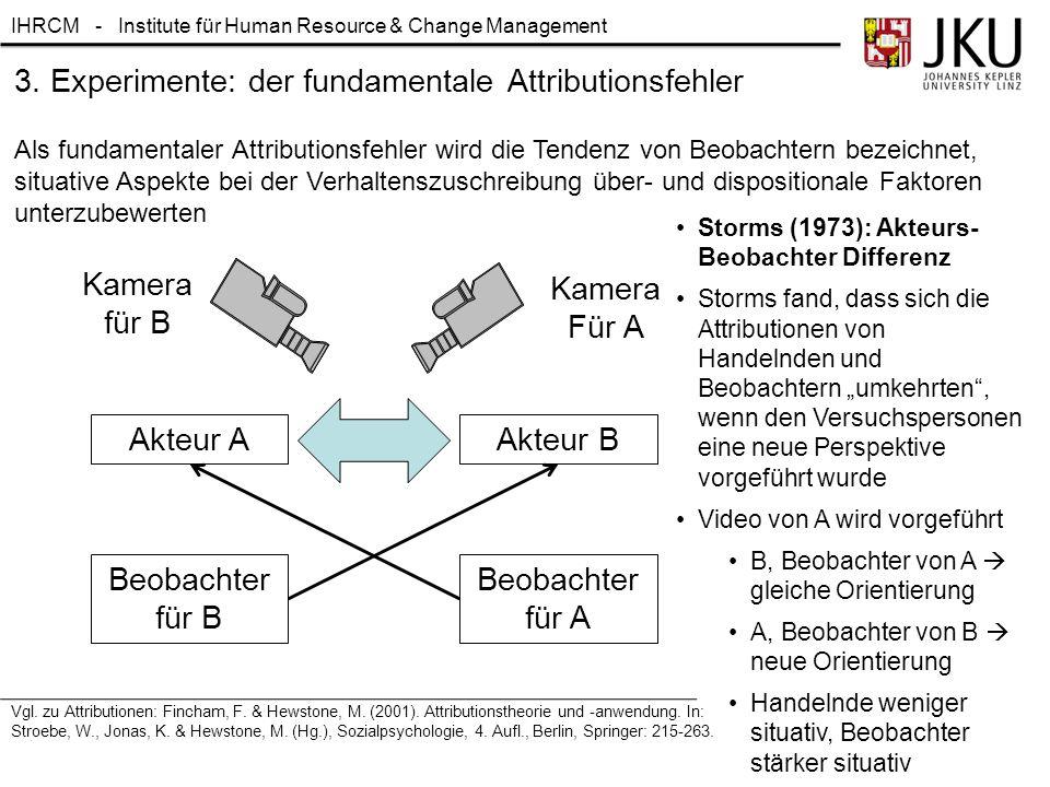 IHRCM - Institute für Human Resource & Change Management Als fundamentaler Attributionsfehler wird die Tendenz von Beobachtern bezeichnet, situative A