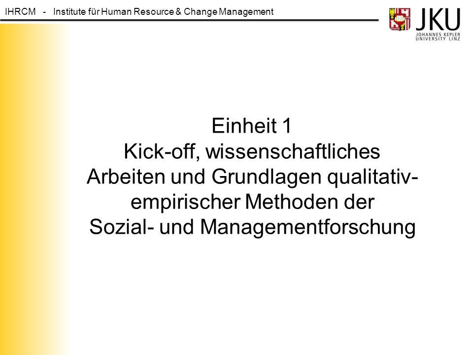 IHRCM - Institute für Human Resource & Change Management Administratives: Seminararbeit und Leistungsbeurteilung