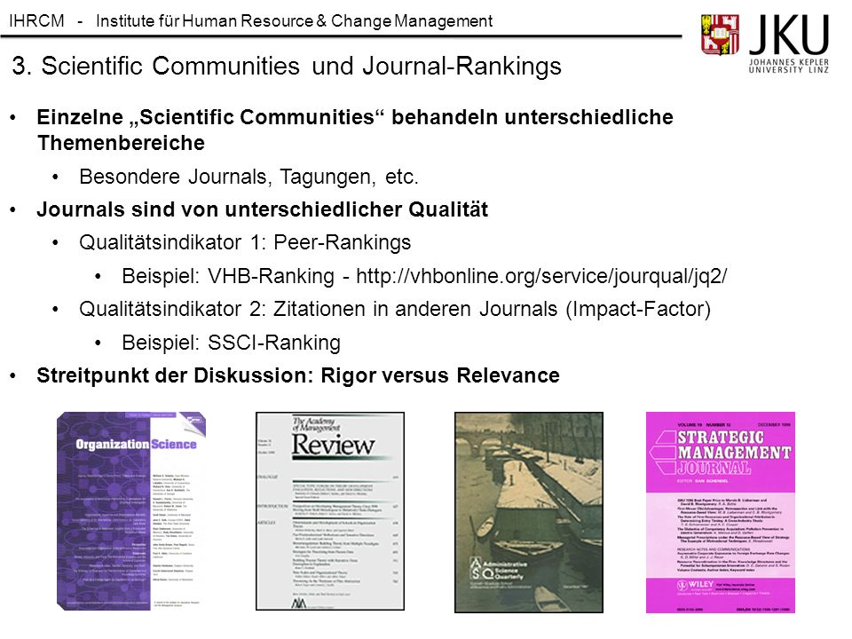 "IHRCM - Institute für Human Resource & Change Management 3. Scientific Communities und Journal-Rankings Einzelne ""Scientific Communities"" behandeln un"